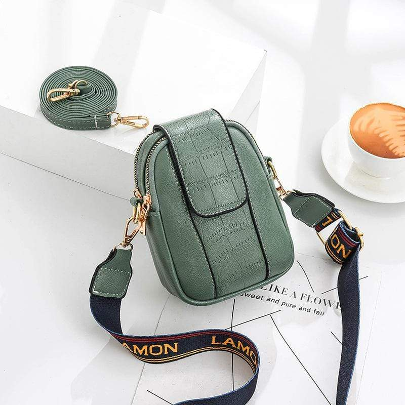 Obangbag Green Women Chic Cute Mini PU Leather Crossbody Bag Shoulder Bag Phone Bag