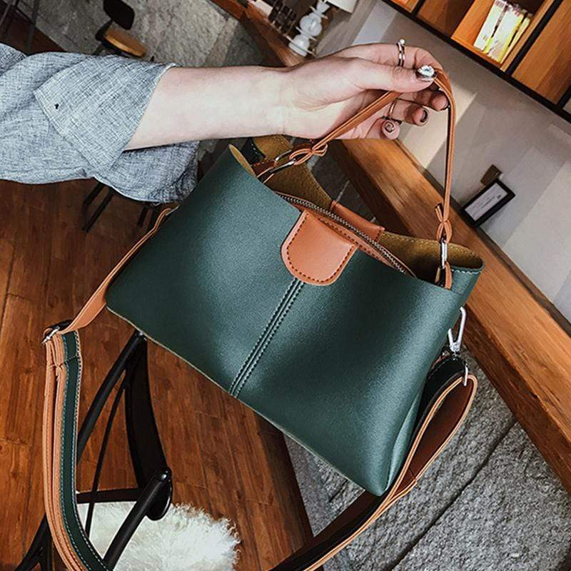 Obangbag Green Women Chic Professional Large Capacity PU Leather Handbag Crossbody Bag for Work