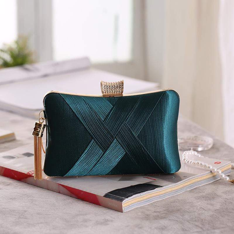 Obangbag Green Women Chic Stylish Fringed Polyester Evening Purse Clutch Bag