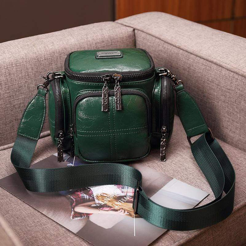 Obangbag Green Women Chic Vintage Multifunction Multi Pockets Square Oil Wax Leather Shoulder Bag Crossbody Bag