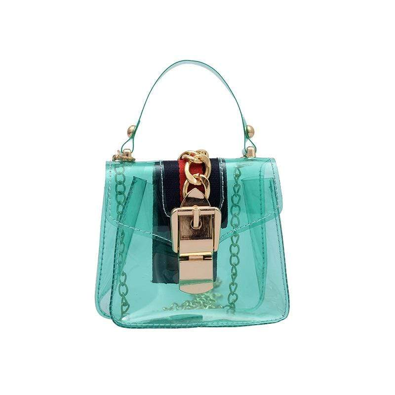Obangbag Green Women Cute Girl Street Mini Transparent Plastic Clear Handbag Crossbady Bag Beach Bag