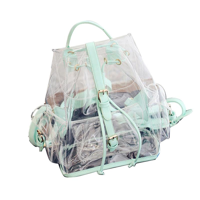 Obangbag Green Women Cute Girl Summer See Through Clear Transparent Plastic PVC Backpack Bookbag