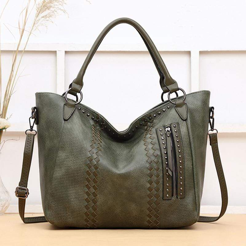 Obangbag Green Women Elegant Vintage Big Large Capacity Rivet Professional Leather Shoulder Bag Handbag Crossbody Bag