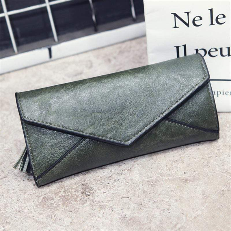 Obangbag Green Women Elegant Vintage Fringed Foldable Lightweight Leather Long Wallet Purse Clutch