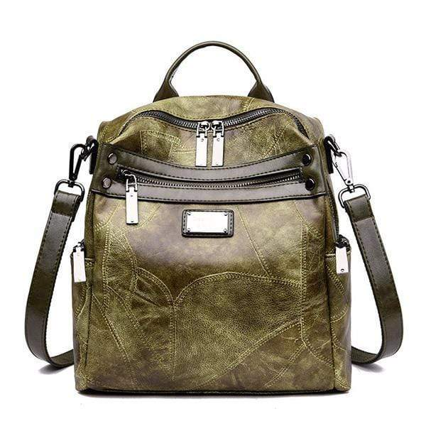 Obangbag green Women Fashion Multi-Carry Soft Leather Work Backpack