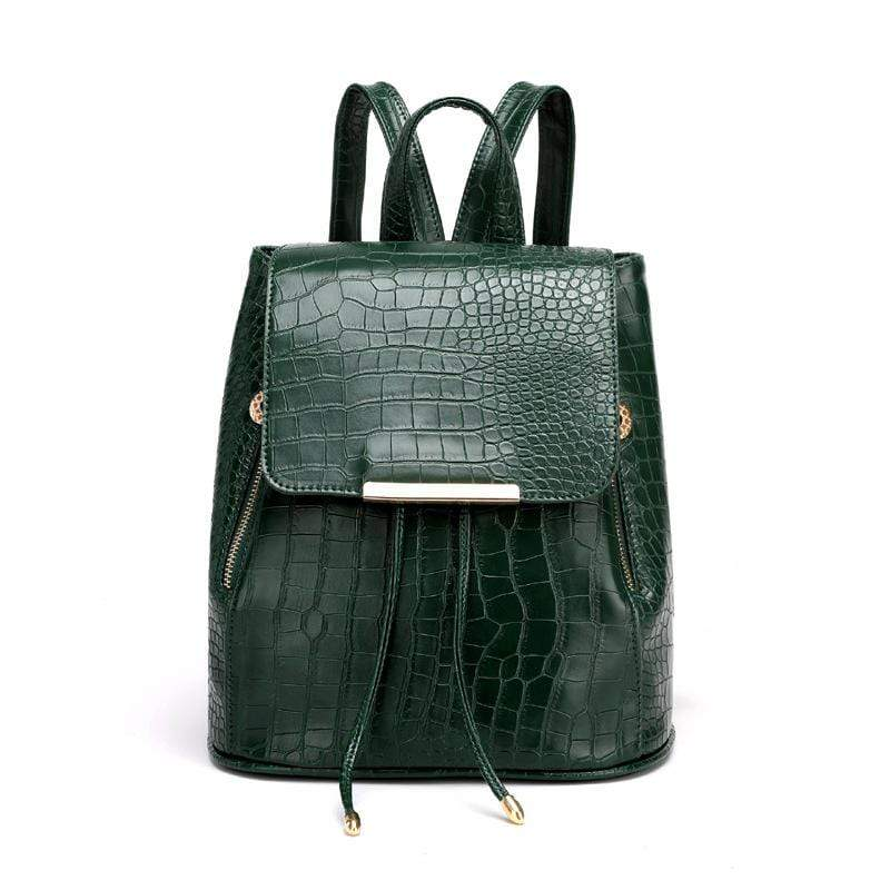 Obangbag Green Women Girls Cute Roomy Crocodile Pattern PU Leather Backpack Bookbag for School