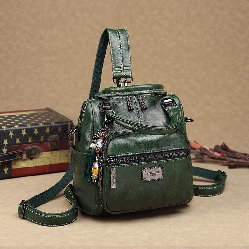 Obangbag Green Women Retro Chic Multi Pockets Multifunction Roomy Double Zipper Oil Wax Leather Backpack Handbag