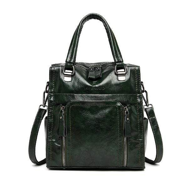 Obangbag Green Women retro large capacity multi-pocket multi-function backpack messenger shoulder bag