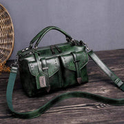Obangbag Green Women's Retro Vintage Leather Multi-Pocket Large Capacity Handbag Messenger Bag