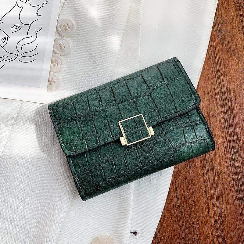 Obangbag Green Women Stylish Chic Multi Layers Crocodile Pattern Leather Wallet Purse