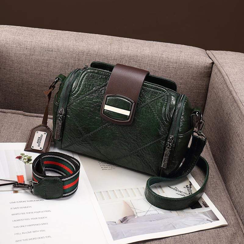 Obangbag Green Women Vintage Elegant Large Capacity Multi Pockets Multifunction Oil Wax Leather Handbag Shoulder Bag Crossbody Bag