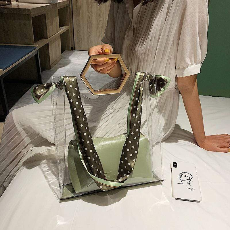 Obangbag Green Women Vintage Fashion Designer Transparent See Through Slik Plastic Handbag Bag Set Shoulder Bag