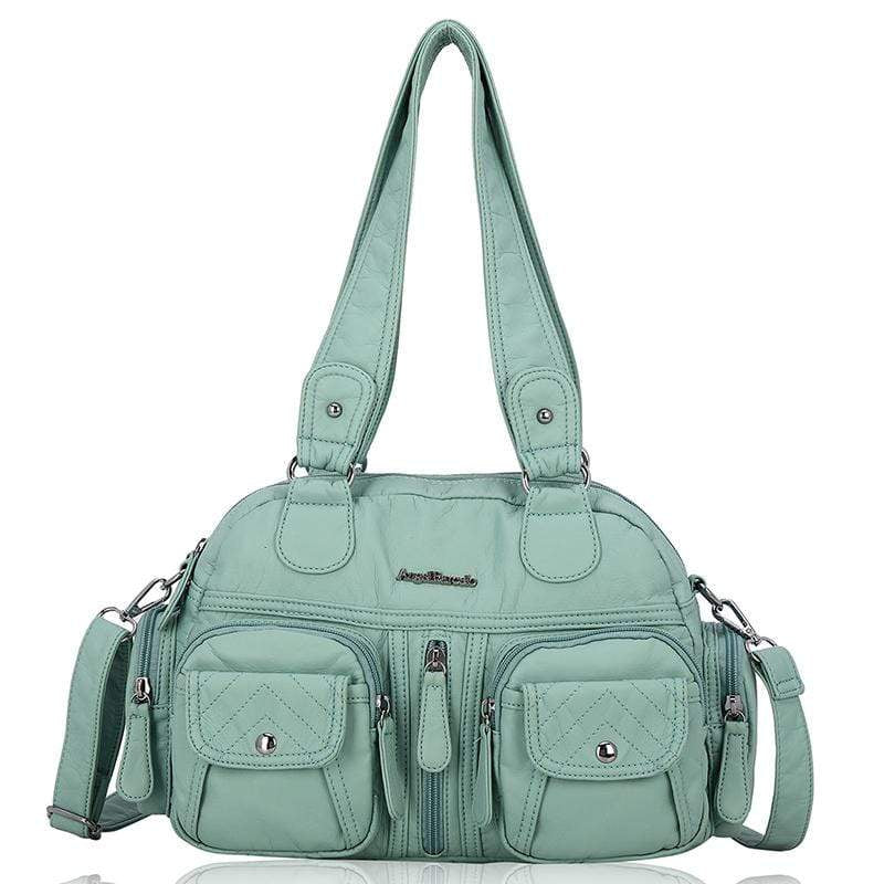 Obangbag Green Women Vintage Fashion Professional Multi Pockets Roomy Soft Leather Shoulder Bag Crossbody Bag