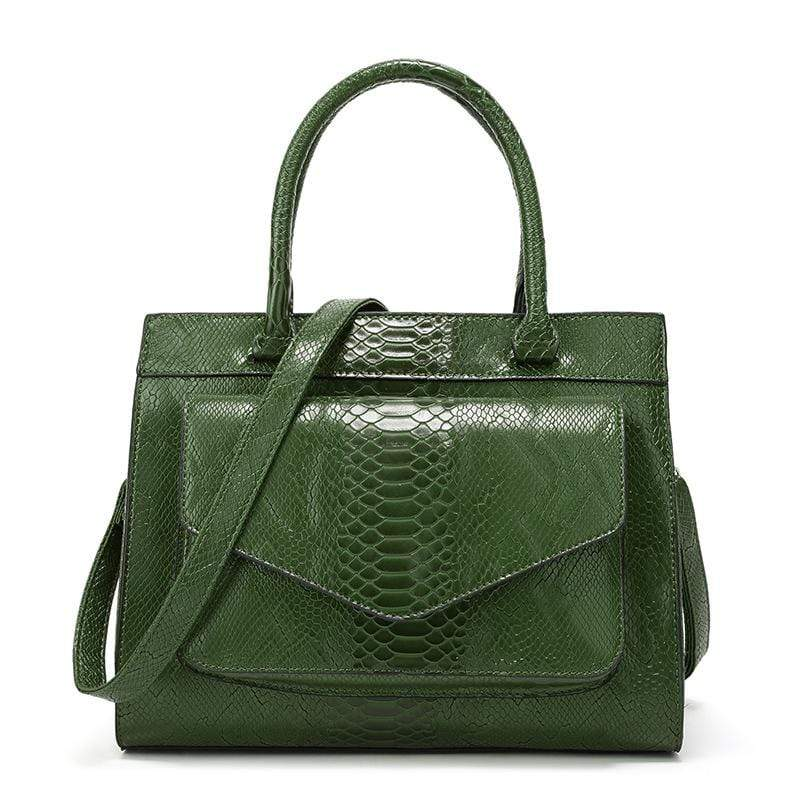 Obangbag Green Women Vintage Large Capacity Multi Pockets Snake Skin Pattern Leather Boston Bag Handbag Crossbody Bag