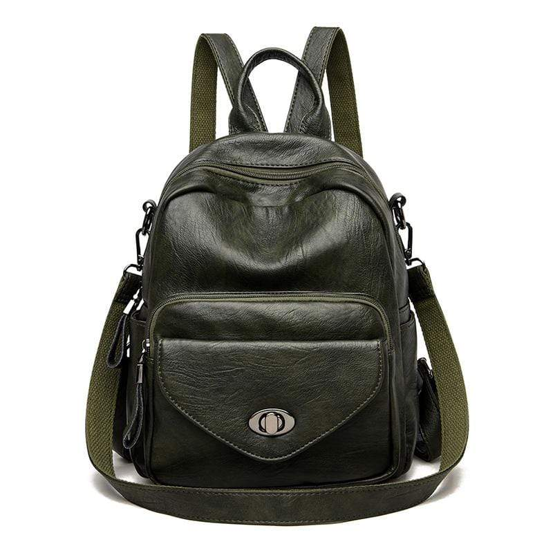 Obangbag Green Women Vintage Multifunction Roomy PU Leather Backpack Shoulder Bag Bookbag