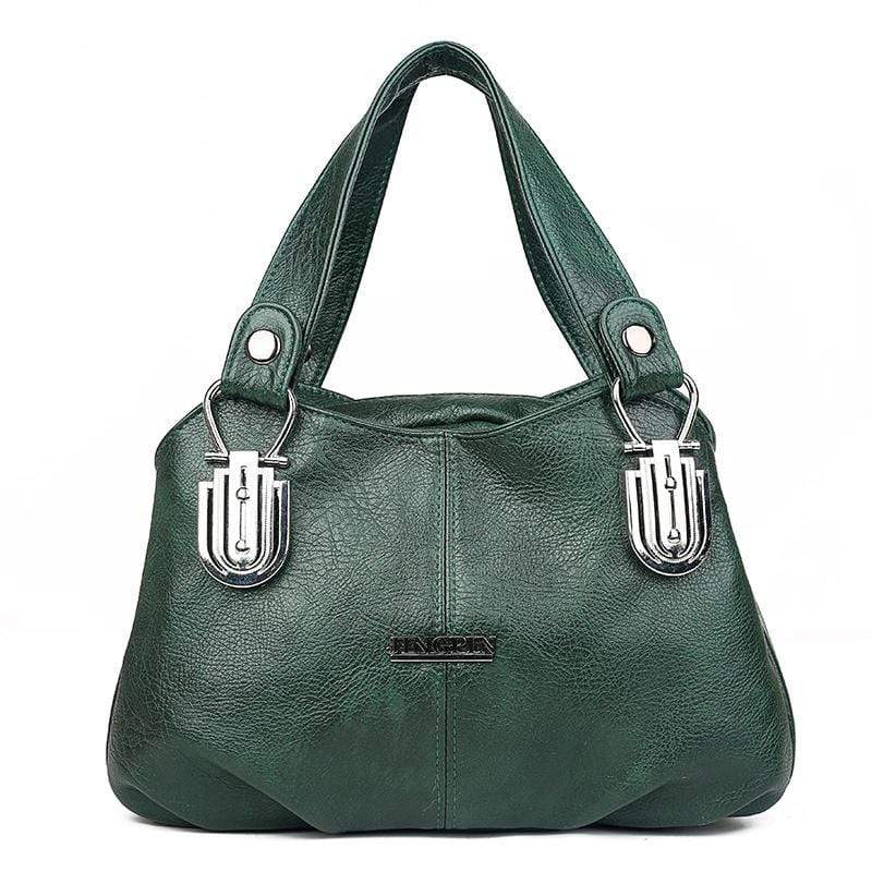 Obangbag Green Women Vintage Roomy Multi Pockets Professional Soft Leather Handbag Crossbody Bag