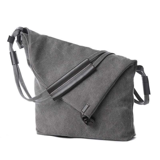 Obangbag Grey Canvas & Leather Large Capacity Lightweight Crossbody Bag