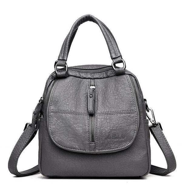 Obangbag Grey Double Layer Side Pockets Leather Backpack For Women