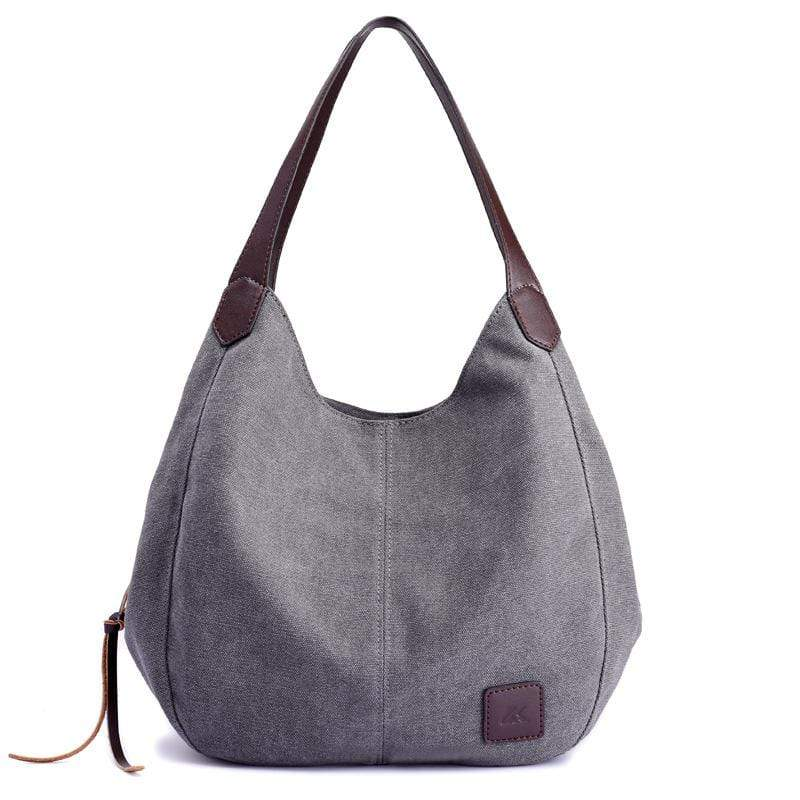 Obangbag Grey Women Chic Vintage Roomy Multi Pockets Canvas Handbag Shoulder Bag