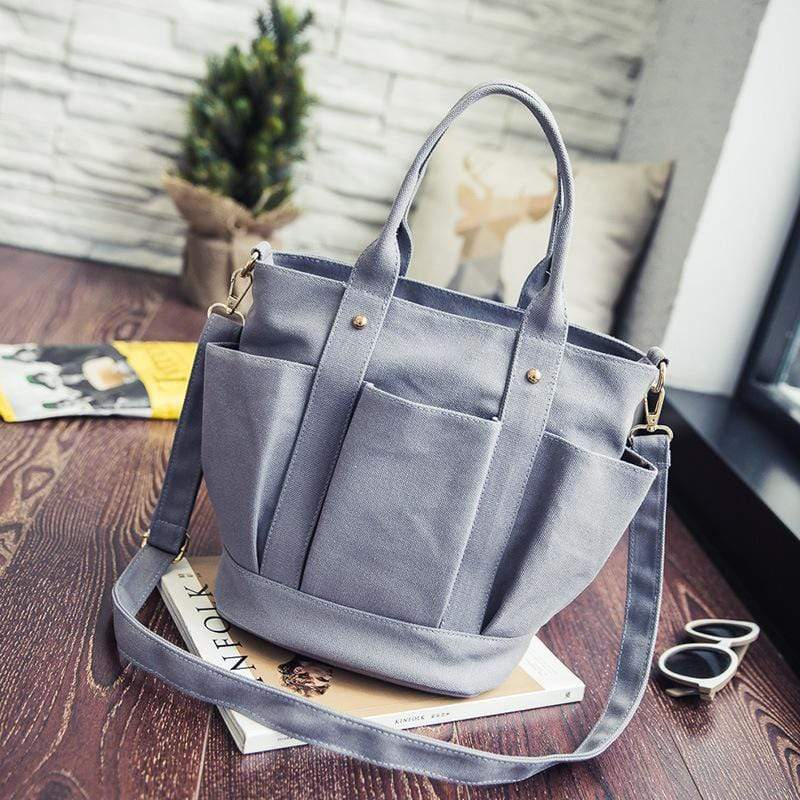Obangbag Grey Women Fashion Vintage Multi Pockets Multifunction Canvas Handbag Crossbody Bag Shoulder Bag