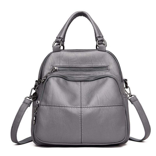 obangbag Grey Women's Multi Function Leather Backpack Shoulder Bag Fashion Handbag