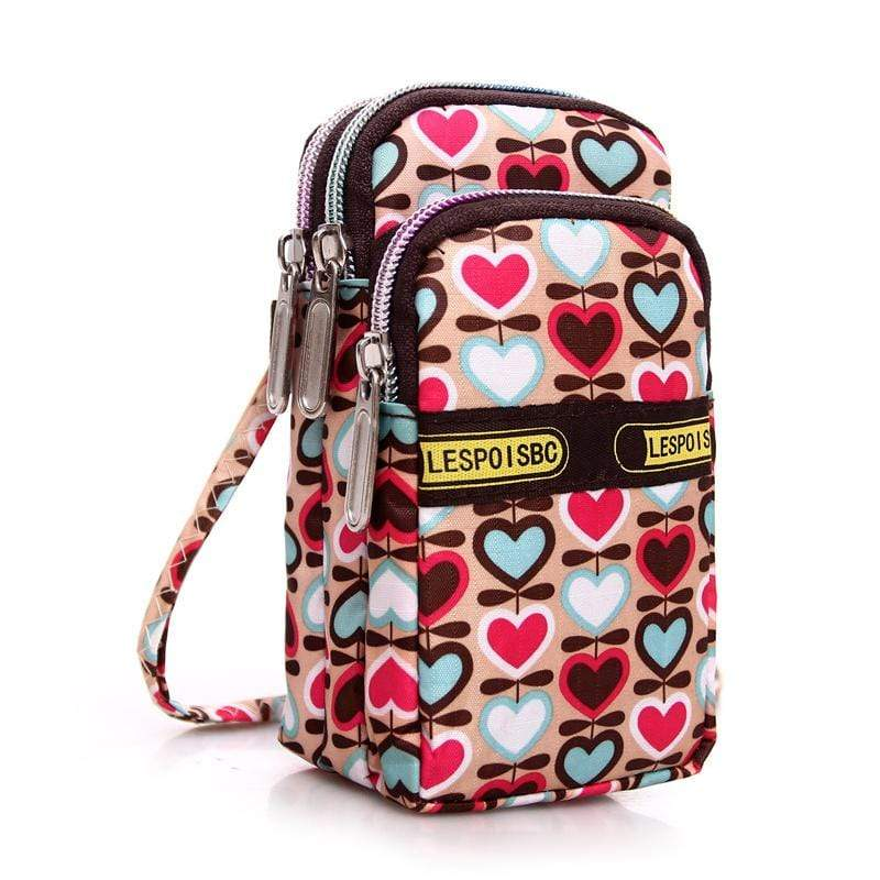 Obangbag Heart Women Mini Cute Colorful Multi Pockets Oxford Clutch Bag Shoulder Bag