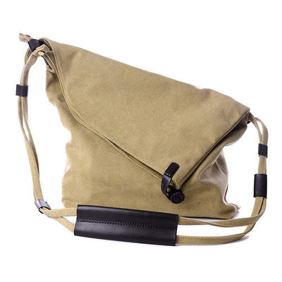 Obangbag Khaki Canvas & Leather Large Capacity Lightweight Crossbody Bag