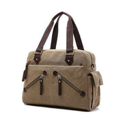 Obangbag Khaki Casual Large Capacity School Teacher Canvas Tote Bags