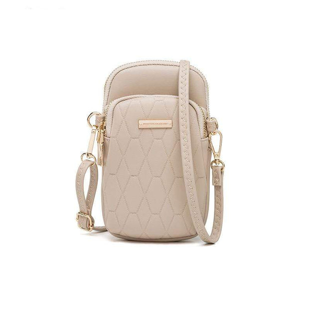 Obangbag Khaki Ladies Fashion Mini Leather Crossbody Bag Phone Bag