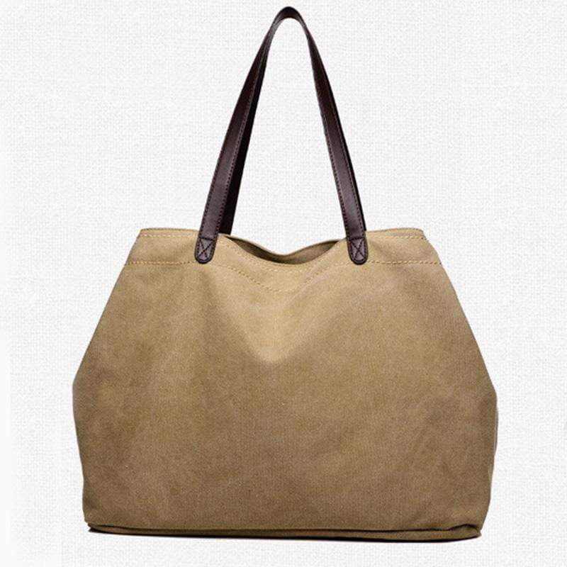 Obangbag Khaki Large Capacity Casual School Teacher Canvas Tote Bags