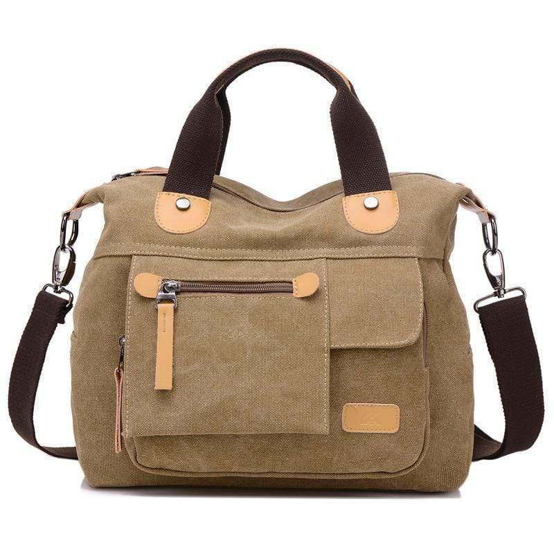 Obangbag Khaki Large Capacity Shoulder Bag Travel Bag Canvas Bag