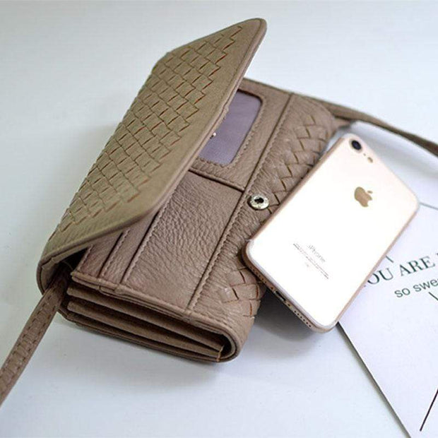 Obangbag Khaki Leather Woven Wallet Multi Slot Card Holder Chic Women Shoulder Bag
