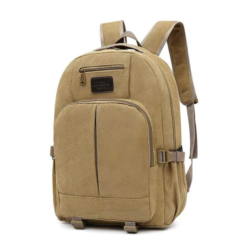 Obangbag Khaki Men Outdoor Large Capacity Multi Pockets Multifunction Travel Canvas Backpack Bookbag for School