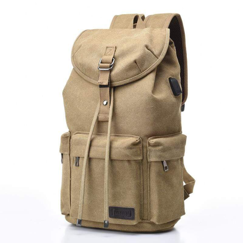 Obangbag Khaki Men Simple Big Large Capacity Multi Pockrts Outdoor Daily Canvas Backpack Bookbag