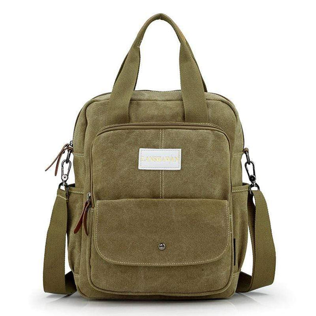 Obangbag Khaki Multi Function Unisex Canvas Messenger Bag Backpack