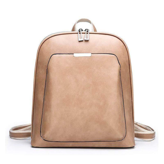 Obangbag khaki Multi Pockets Retro Vintage Oil Wax Leather Women Travel Computer Laptop Large Backpack