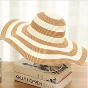 Obangbag Khaki Striped Sun Hat Women Overflowed Floppy Sun hats