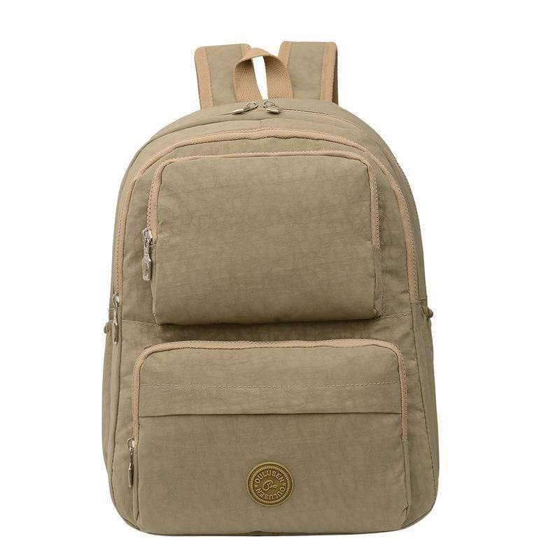 Obangbag Khaki Unisex Big Casual Multi Pockets Multifunction Lightweight Nylon Backpack for Work for Travel