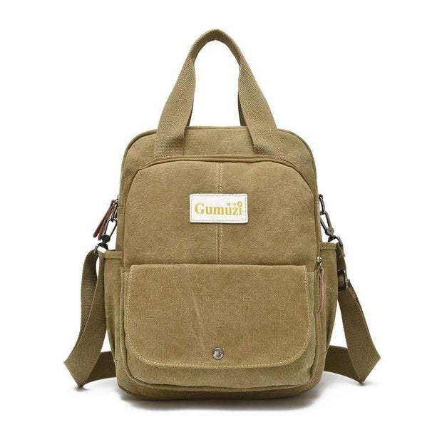 Obangbag Khaki Unisex Multi Funciton Retro Canvas Messenger Shoulder Bag Backpack