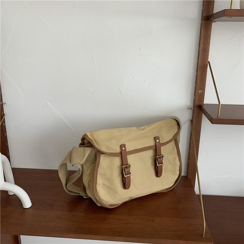 Obangbag Khaki Unisex Simple Casual Large Capacity Roomy Canvas Leather Crossbody Bag Messenger Bag