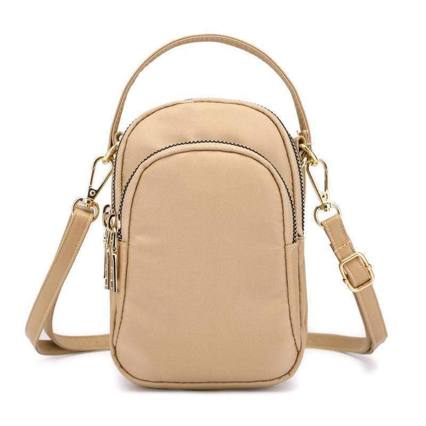 Obangbag Khaki Waterproof Multi Function MINI Women's Handbag Crossbody Bag Phone Bag