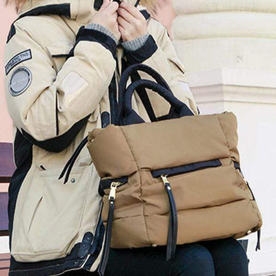 Obangbag Khaki Winter Space Cotton Oxford Nylon Waterproof Down Bag Shoulder Bag Handbag