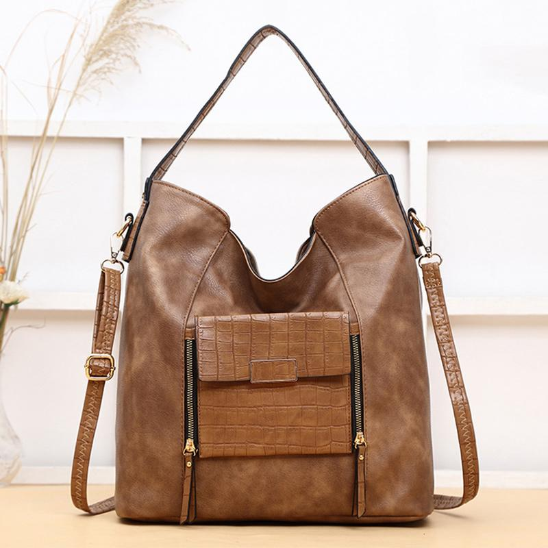 Obangbag Khaki Women Big Stylish Vintage Large Capacity Multi Pockets Leather Shoulder Bag Crossbody Bag
