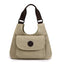 Obangbag Khaki Women Casual Simple Multi Pockets Large Capacity Canvas Tote Bag Handbag Sling Bag for Work