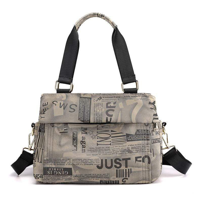 Obangbag Khaki Women Chic Fashion Large Capacity Multi Pockets Printed Nylon Handbag Crossbody Bag for Work