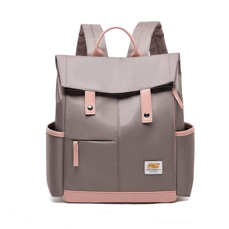 Obangbag Khaki Women Chic Foldable Large Capacity Multifunction Oxford Backpack Bookbag for School