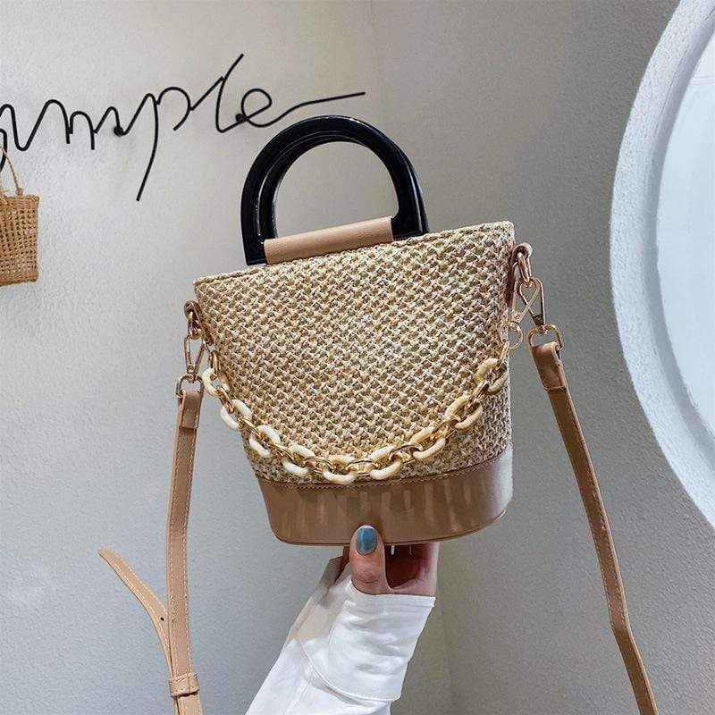 Obangbag Khaki Women Chic Lightweight Roomy Woven Summer Spring Straw Bucket Bag Crossbody Bag for Work