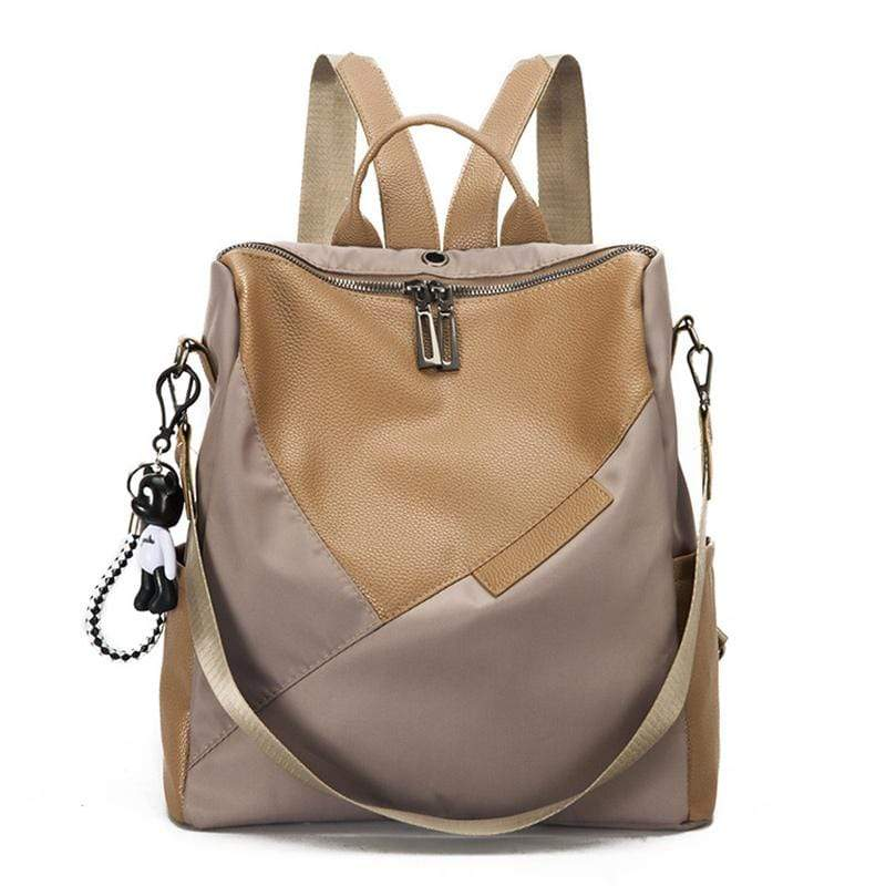 Obangbag Khaki Women Chic Retro Patchwork Lightweight Roomy Multifunction Nylon Leather Backpack Shoulder Bag