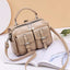 Obangbag Khaki Women Chic Stylish Multi Pockets Roomy Multifunction Leather Boston Bag Handbag Crossbody Bag Backpack