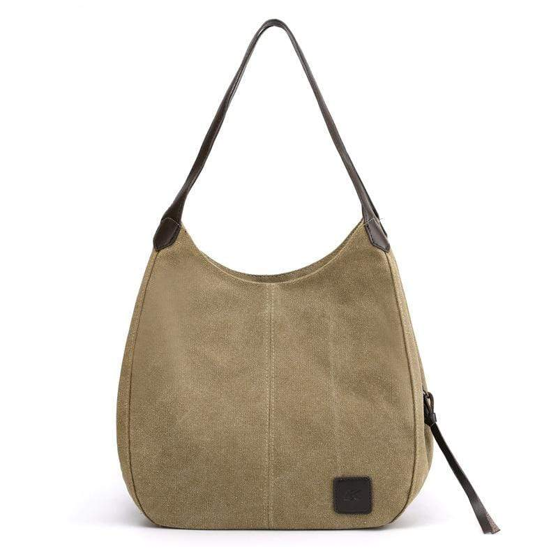 Obangbag Khaki Women Chic Vintage Roomy Multi Pockets Canvas Handbag Shoulder Bag